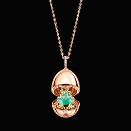 Fabergé - Fabergé Essence Rose Gold & Green Lacquer Frog Surprise Locket 1258fp2370