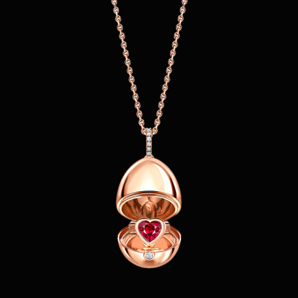 Fabergé - Fabergé Essence Rose Gold Ruby Heart Surprise Locket  1258FP2371