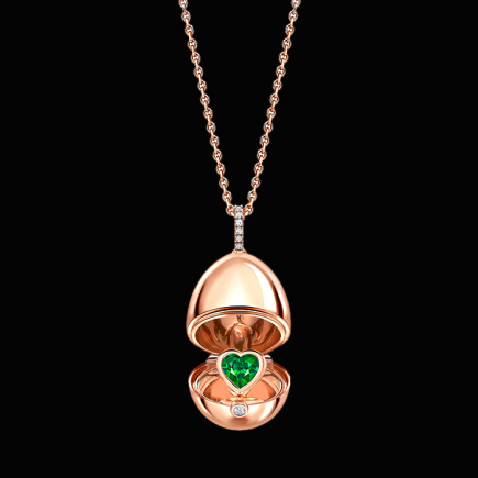 Fabergé - Fabergé Essence Rose Gold Emerald Heart Surprise Locket 1258fp2392