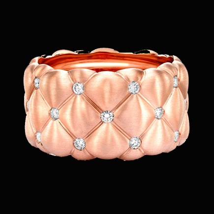Fabergé - Fabergé Treillage Brushed Rose Gold & Diamond Set Grand Ring 530rg836